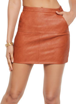 Zip Back Faux Leather Skirt - 3406068192006