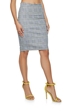 Plaid Pencil Skirt - 3406068192374