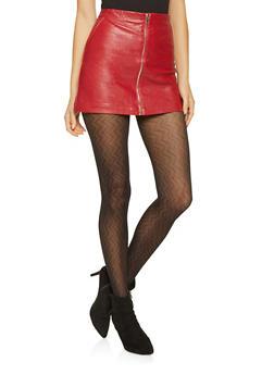 Faux Leather Zip Mini Skirt - 3406068192376