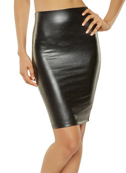 Faux Leather Pencil Skirt - 3406068196012