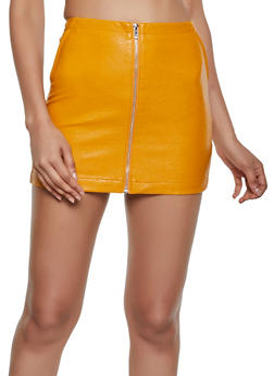 Faux Leather Zip Front Mini Skirt - 3406068196732