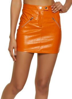 Mini Faux Leather Skirt - 3406068197307