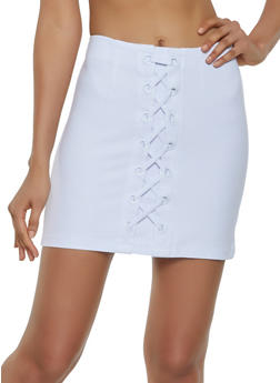 Lace Up Ponte Pencil Skirt - 3406068197420