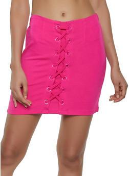 Lace Up Ponte Pencil Skirt - 3406068197420