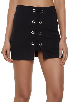 Lace Up Ponte Mini Skirt - 3406068197421