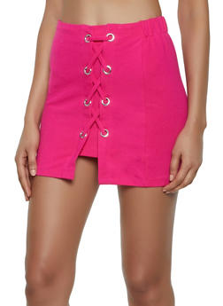 Lace Up Ponte Mini Skirt - 3406068197421
