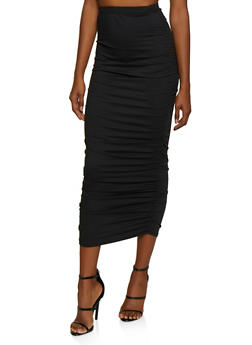 Solid Ruched Maxi Skirt - 3406068512632