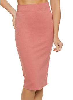 Solid Ponte Midi Pencil Skirt - 3406069390009