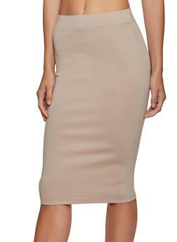 Solid Ponte Midi Pencil Skirt - 3406069390009