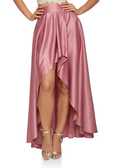Pleated High Low Maxi Skirt - 3406069390194