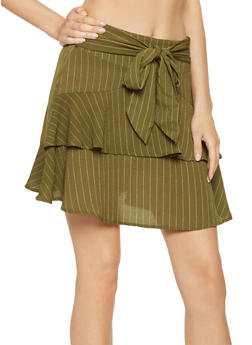 Ruffled Pinstripe Mini Skirt - 3406069390201