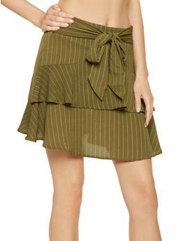 Ruffled Pinstripe Mini Skirt - 3406069390201