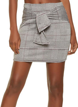 Tie Waist Plaid Mini Skirt - 3406069390211