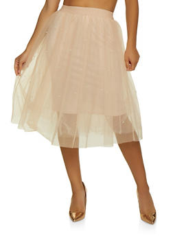 Faux Pearl Studded Tulle Skirt - 3406069390222