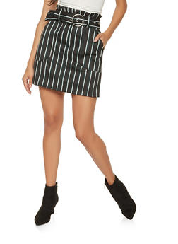 Striped Paper Bag Waist Mini Skirt - 3406069390236