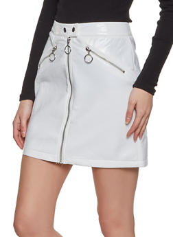 Crinkled Faux Patent Leather Mini Skirt - 3406069390348