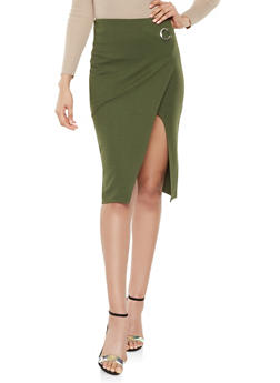 Faux Wrap Ponte Pencil Skirt - 3406069390801