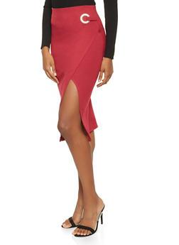 Faux Wrap Ponte Pencil Skirt - 3406069390801