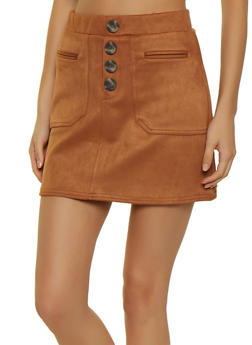 Faux Suede Button Mini Skirt - 3406069390804