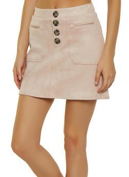 Faux Suede Button Mini Skirt - 3406069390804