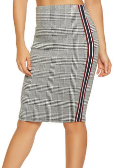 Plaid Striped Tape Pencil Skirt - 3406069390805
