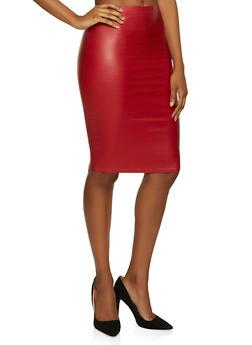 Coated Midi Pencil Skirt - 3406069391051