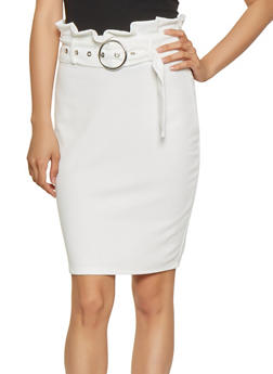 Belted Paper Bag Waist Pencil Skirt - 3406069391213