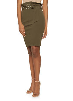 Belted Paper Bag Waist Pencil Skirt - 3406069391213