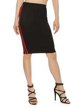 Varsity Stripe Pencil Skirt - 3406069391215