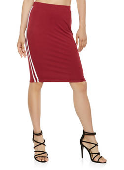 Varsity Stripe Pencil Skirt - 3406069391215