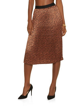 Pleated Cheetah Midi Skirt - 3406069391262