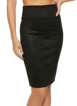 Faux Suede Pencil Skirt - 3406069391280