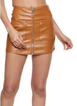 Zip Front Faux Leather Mini Skort - 3406069393019