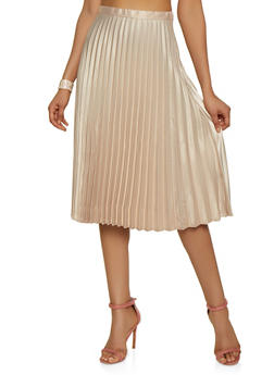 Satin Pleated Midi Skirt - 3406069393700