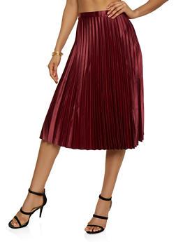 Satin Pleated Midi Skirt - 3406069393700