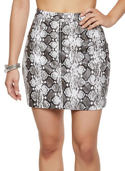 Snake Print Faux Leather Mini Skirt - 3406069394998