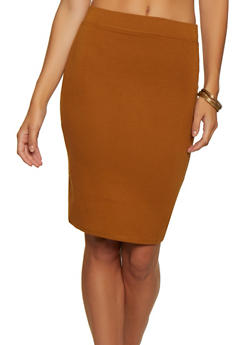 Solid Ponte Pencil Skirt - 3406069396012