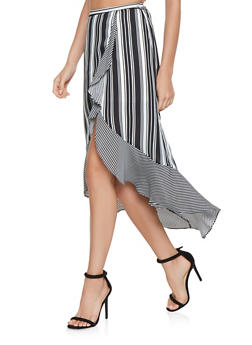 Striped Faux Wrap High Low Skirt - 3406069398007