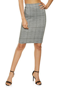 Plaid Pencil Skirt - 3406069398014
