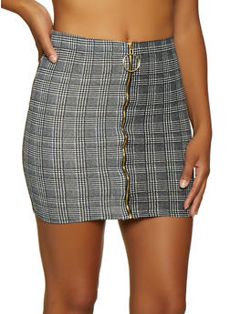 Zip Front Plaid Mini Skirt - 3406072247223