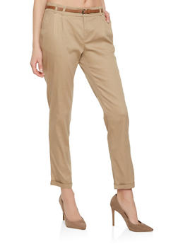 Solid Belted Pants - 3407054219529
