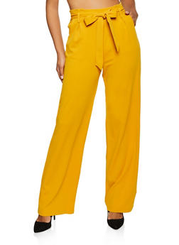 Tie Front Crepe Knit Palazzo Pants | 3407054219844 - 3407054219844