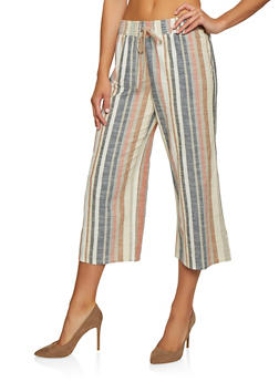 Striped Linen Cropped Pants - 3407056129354