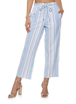 Tie Waist Striped Linen Pants - 3407056129360