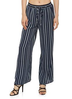 Striped Crepe Knit Palazzo Pants - 3407056129381
