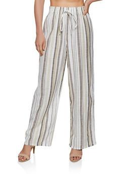 Striped Linen Wide Leg Pants - 3407056129502