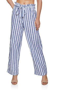 Striped Belted Linen Palazzo Pants - 3407056129503
