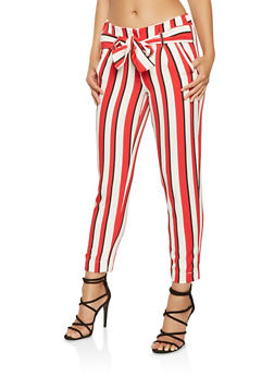 Striped Tie Front Dress Pants - 3407056571212