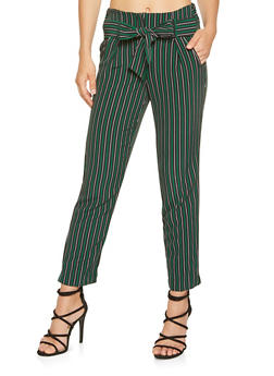 Striped Tie Front Pants - 3407056571243