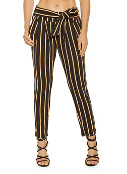 Striped Tie Front Dress Pants - 3407056571458